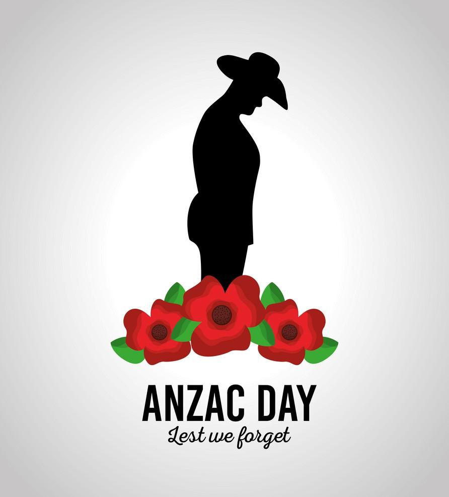 anzac day lest we forget patriotism national celebration card vector illustration